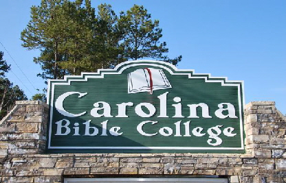 carolina bible college sign